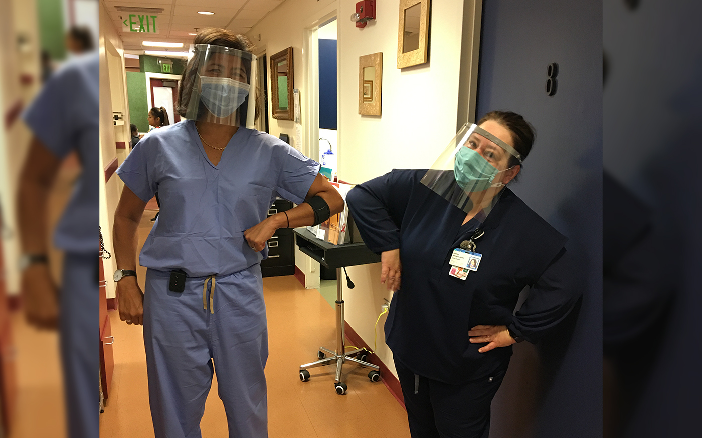 The doctors/nurses from the delivery department at Kapiolani Medical Center for Women & Children wearing the face shields.